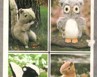 SIMPLICITY 8782 Forest Woodlands Animals VINTAGE  1970s Skunk, Squirrel, Beaver, Owl 1978