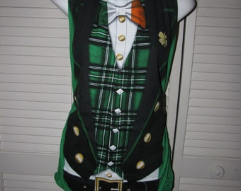 Leprechaun costume St PADDYS DAY shamrock cut couture backless shredded t shirt tank top handmade to fit you