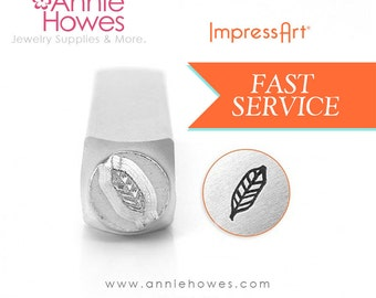 Feather Design Stamp for Metal Jewelry Stamping. 6mm Impressart Feather 2.