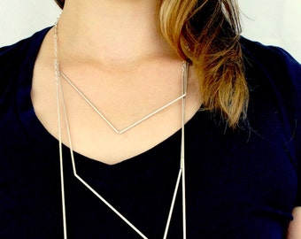 NEW Large Silver Geometric necklace, silver tube necklace, minimalist necklace, silver tube necklace, collar necklace, modern necklace