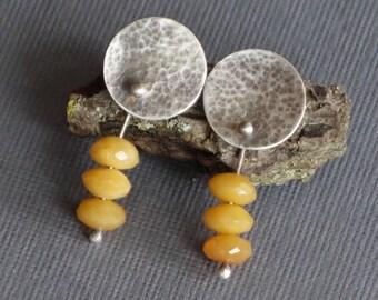 Jade Earrings, Textured Post Earrings, silver studs, Circle Stud, Yellow Earrings, Circle with yellow jade dangle