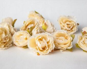 15 Mini Ruffled Roses in Vanilla Cream - SMALL Sweetheart Artificial Roses - ITEM 01086