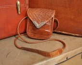 Small Brighton Crossbody messenger bag Alligator texture and leather basket weave design metal embellishments