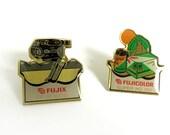 Set of 2 Vintage Enamel 60's Fujicolor Fujix Polaroid Photo Camera Lapel Pins - 1960s Dutch Advertising Collectibles