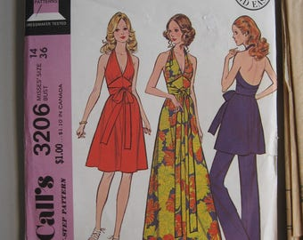 McCall's 3206 halter dress tunic pants pattern size 14 bust 36 1972 KickstandProductions