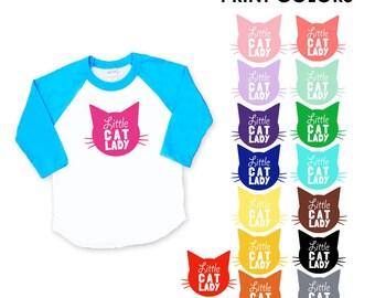 Little Cat Lady Neon Blue Baseball TShirt - Infant Baby / Toddler Kids Sizes - Cat Lover, Cat People, Birthday Gift for Little Girl
