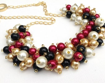 Black Red Gold Ivory Pearl Necklace, Wedding Jewelry, Pearl Chunky Beaded Necklace, Bridesmaid Gift, Winter Wedding, Pearl Cluster Necklace
