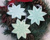Ceramic Snowflake Ornament Set . Handmade Pottery Christmas Tree Ornaments