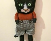 cat doll,  sandy mastroni , black cat art doll ,boy cat , short pants ,red and black,shelf art doll, kitty art doll