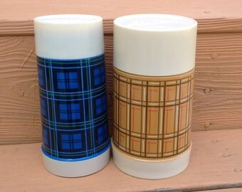 Vintage Aladdin Thermos Pair of Plaid Butterscotch and Blue Aladdin Wide Mouth Pint and 10 Ounce