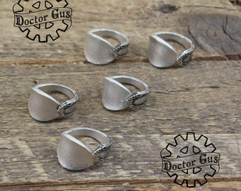Demitasse Spoon Ring Assortment - Adjustable - Set of 5 Rings - Doctorgus Handmade Pewter Jewelry - Victorian Boho Style - Wedding Ideas