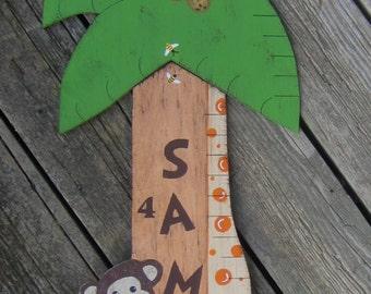 JUNGLE GIRAFFE Wood Growth Chart - Original Hand Crafted Hand Painted Wood Keepsake 6' High - Boy/Girl/TWINS