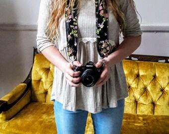 SALE Black satin floral camera strap