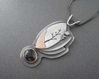 Handmade Lucid Dream Mixed Metal Sterling Silver, Rose Gold,  Diamond, Michigan Greenstone Pendant