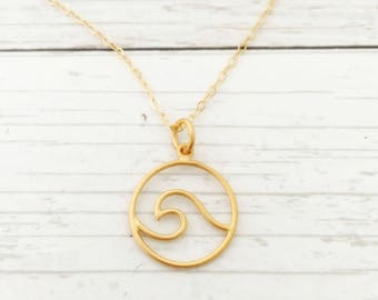 Gold Wave Necklace, jewelry gift for her, gift for daughter, beach wave jewelry, travel, vacation, open wave, surfer girl necklace
