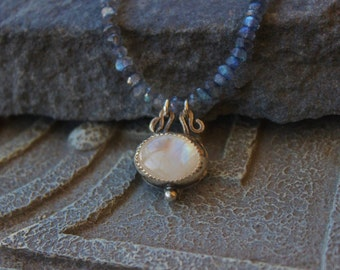 Moonstone Pendant, Metalwork, Labradorite  necklace, choker  necklace, strung gemstone necklace, healing necklace, holiday gift for her