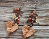 Birch leaf Leather Earrings with Citrine, Carnelian and Tigers Eye - Falling Leaves Mixed Media Boho Jewelry with Semiprecious Stones