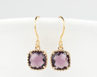 February Amethyst Gold Earrings, Amethyst Gold Square Earrings, Purple Gold Earrings, February Birthday Gift, Gifts Under 15. #807