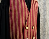 Crimson Striped Cabaret Waistcoat by Kambriel - One of a Kind - Brand New & Ready to Ship!