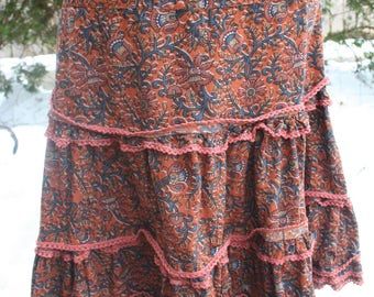 Brown and blue ruffled layered hippie skirt XL India print cotton short