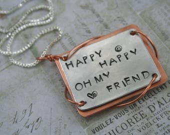Phish necklace Backwards Down the Number Line birthday gift Trey Anastasio jewelry happy oh my friend lyrics jewelry stamped copper