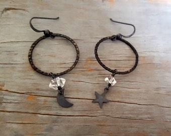 Black Hoop Sterling Silver Earrings, Black Moon Star Earrings, Raw Crystal, Herkimer Diamond, Gemstone Jewelry, Gothic, Raw Crystal Jewelry