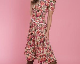 Vintage Pink Peony Floral Dress (Size Small)