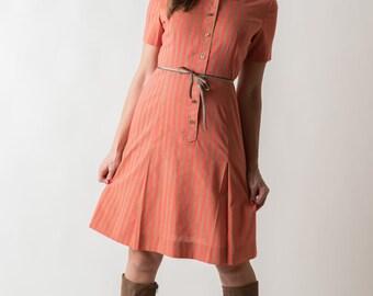 Vintage Orange Striped Day Dress (Size Medium)