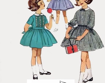 Vintage 1950s Girls Pin tuck Dress Sewing Pattern Simplicity 4067 Rockabilly 50s Sewing pattern Size 5