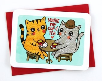 You're my Cup of Tea Kitties - valentine card friend funny valentine card romantic valentine cat lover valentine card her tea lover card