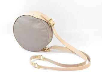 Esme - Handmade Round Leather Shoulder Bag In Stone Grey & Nude