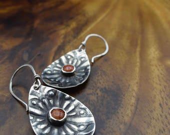 Patterned coral teardrop earrings