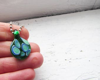 Petite Green and Blue Minimalist Glass Necklace