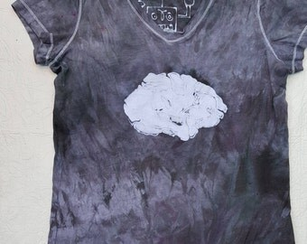 XL Fitted Women's Science Brain Robot v neck batik extra large