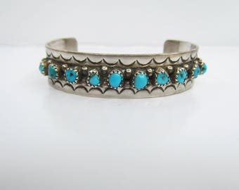 Vintage Small Native American Sterling Silver and Snake Eye Turquoise Stamped Cuff Bracelet - Size 4.50 - 5 3/4     1508