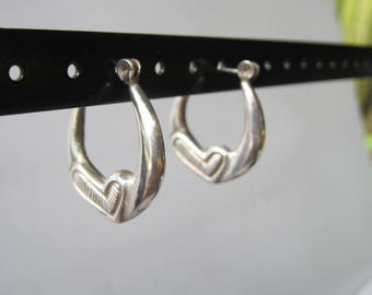 Sterling Silver Hoop Earrings with Stamped Heart Detail    - 1584D