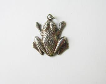 Vintage Sterling Silver Stamped Frog Pendant or Charm     1586D