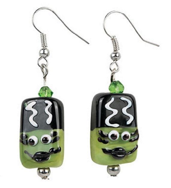 Green Monster Bride Earrings