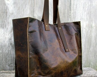 Old World Distressed Brown Leather Large Tote Bag by Stacy Leigh