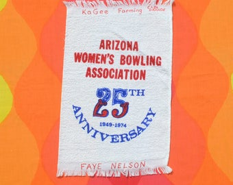 vintage 70s BOWLING towel 1974 arizona women's tournament graphic bowler's brand new