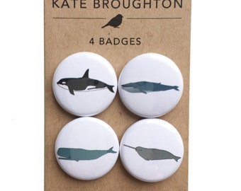 Whale badges (set of four) illustrated whale pins / pinback buttons / narwhal - orca - blue whale / marine wildlife gift