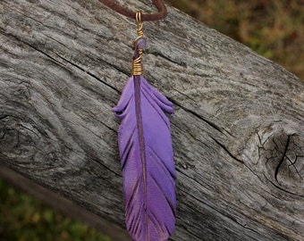 Purple Feather - Leather Fantasy Bird Feather Pendant - 3 inches