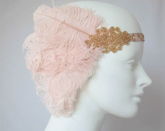 French Pink Romantic Flapper Feather Headband