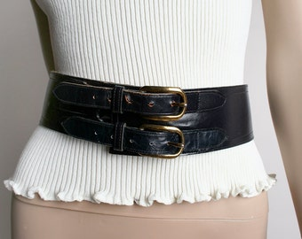 Vintage Leather Double Buckle Belt - Wide Fit - Black Leather - 28 29 30 31 inch waist