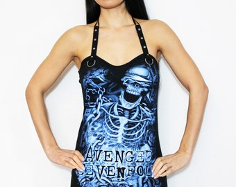Avenged Sevenfold shirt tank heavy metal lace up top gothic clothing alternative apparel reconstructed rocker clothes altered band tee