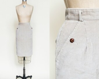 1980s Khaki Corduroy Skirt --- Vintage Small Pencil Skirt