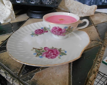 Rose~Tea Cup Candle~  Vintage Dark Pink Rose Teacup~ Shell Shaped Saucer~ Wood Wick~ Rose Scented~Tea Cup Soy Candle