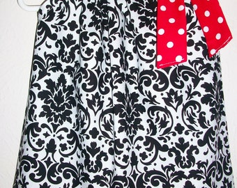 Pillowcase Dress Damask Dress Black White Red Classic Dress for Wedding baby dress toddler dress girls dresses Damask Clothes Classic Styles