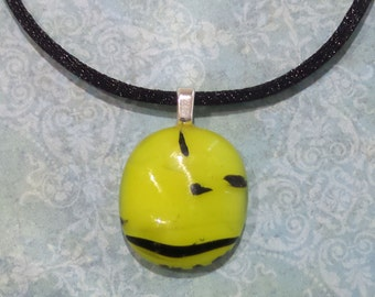 Yellow Fused Glass Pendant, Small Yellow and Black Necklace, Fused Glass Jewelry, Simple Pendant- Annabelle - 6