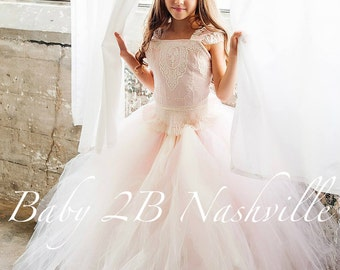 Pink Dress Vintage Dress Ivory Dress Lace Dress Flower Girl Dress Toddler Tutu Dress Girls Tulle Dress Wedding Dress Party Dress Birthday